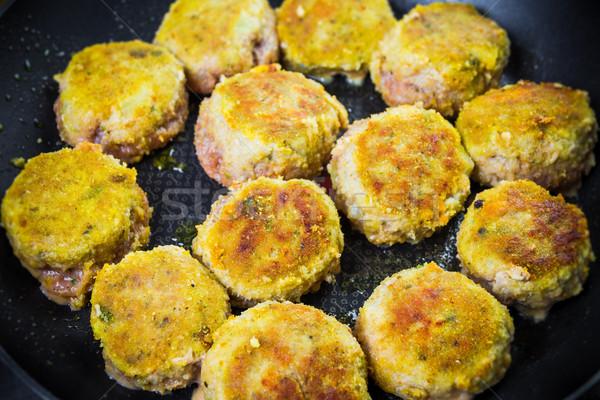 Ingesteld vlees olie diner hot kok Stockfoto © fotoaloja