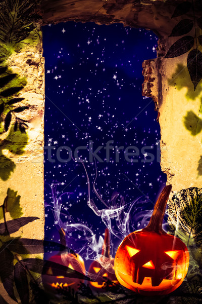 Halloween project pumpkins old ruins View window night starry sk Stock photo © fotoaloja