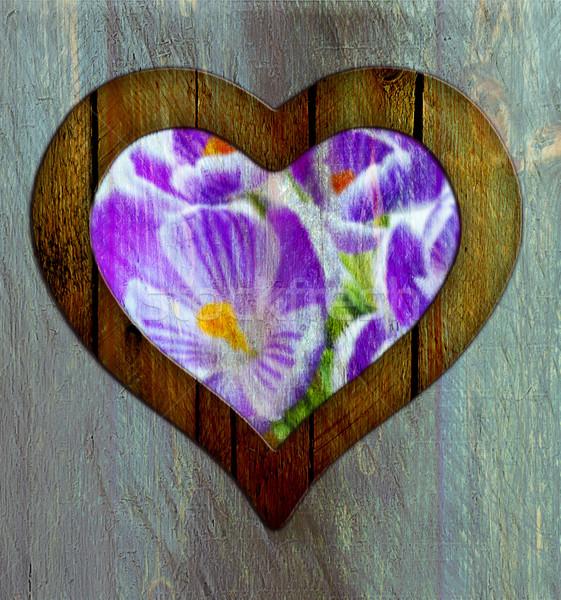 Foto stock: Coração · quadro · fronteira · janela · flor