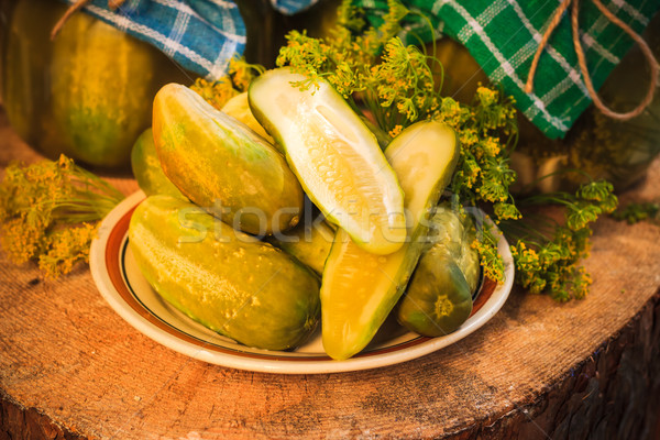 chopped pickled cucumbers plate wooden board Stock photo © fotoaloja
