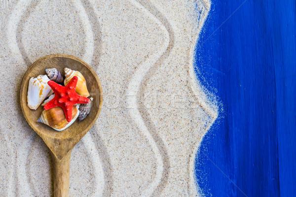 Kagylók színes kanál tengerparti homok víz hal Stock fotó © fotoaloja