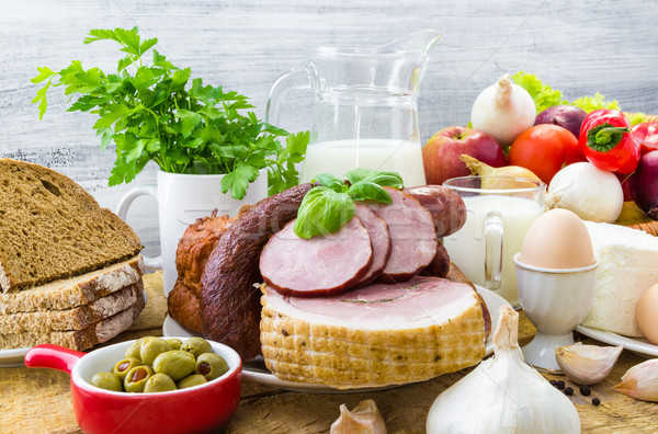 ストックフォト: 食料品 · 製品 · 肉 · 乳製品 · 木材