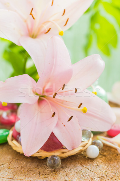 Spa concept flower lily salt bathing Stock photo © fotoaloja