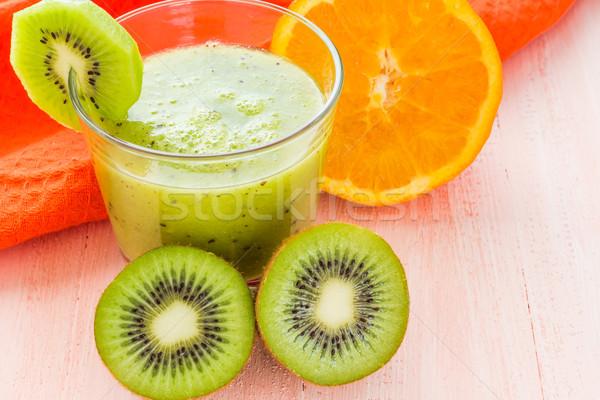 Healthy diet fruit juice kiwi orange wooden table Stock photo © fotoaloja