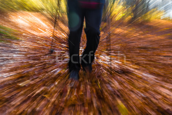 Nordic walking sport run walk motion blur outdoor person legs fo Stock photo © fotoaloja