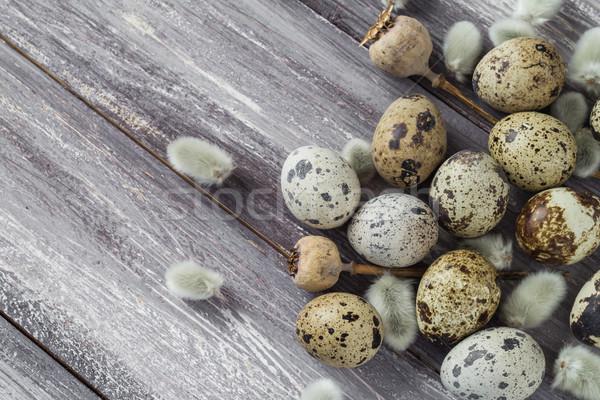 Stockfoto: Pasen · eieren · houten · tafel · voorjaar · natuur · ei