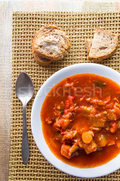 stew zucchini stewed vegetables meat food meal vintage Stock photo © fotoaloja