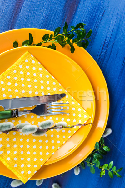 Easter table setting sprig pussy willow Stock photo © fotoaloja
