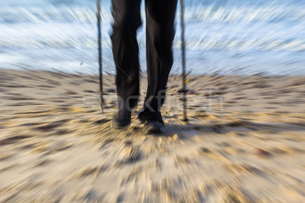 Nordic walking sport run walk motion blur outdoor person legs se Stock photo © fotoaloja