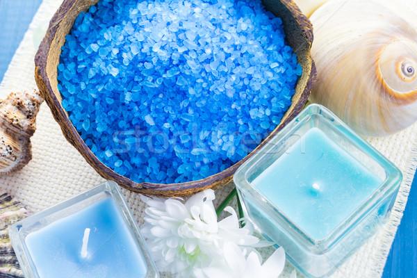 Estância termal sal aromático velas tabela flor Foto stock © fotoaloja