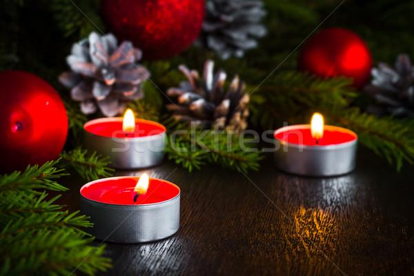 Albero di natale candela legno Natale abete rosso rami Foto d'archivio © fotoaloja