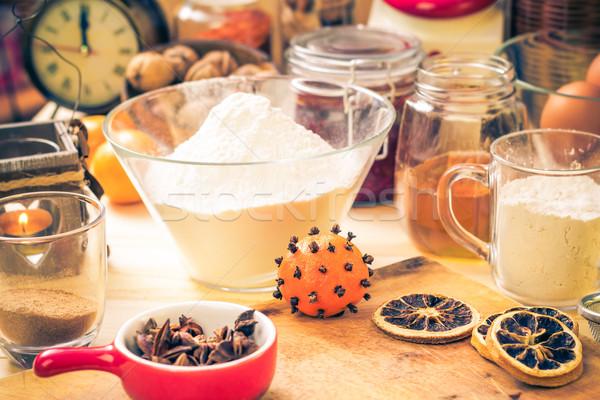 Hozzávalók előkészítés jeges karácsony mézeskalács konyhaasztal Stock fotó © fotoaloja