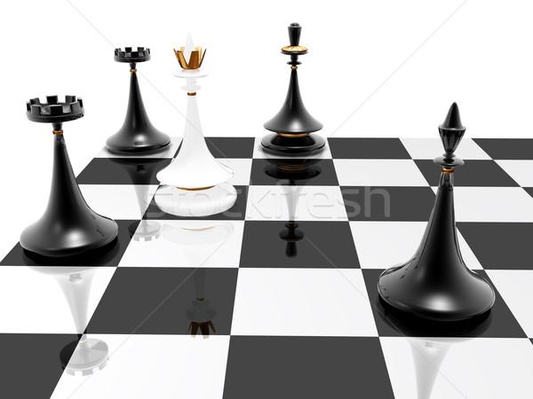 Satranç mat 3d render siyah başarı oynamak Stok fotoğraf © fotoaloja
