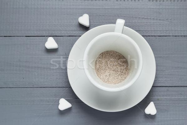 Kubek kawy przygotowany wody powodzi miłości Zdjęcia stock © fotoaloja