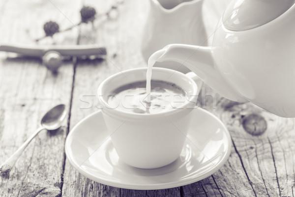 Leche jarra taza café negro negro Foto stock © fotoaloja