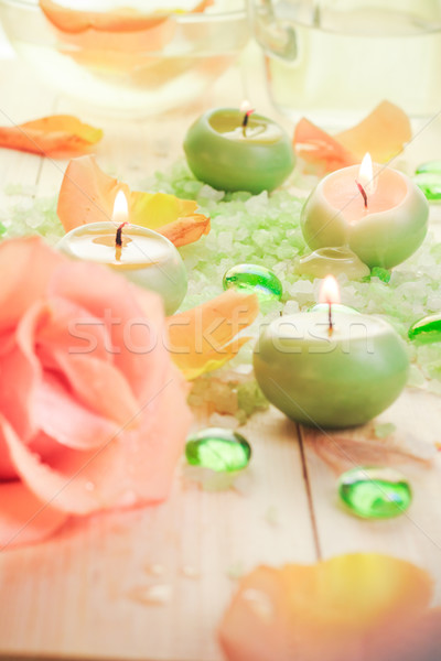 Perfumado velas sal banho flor Foto stock © fotoaloja