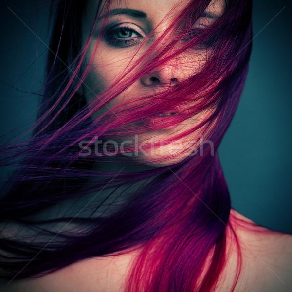 Dramatik portre çekici kız kadın yüz Stok fotoğraf © fotoduki