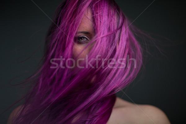 Portre çekici kız mor saç dramatik kadın Stok fotoğraf © fotoduki