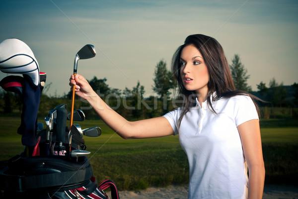 Golf meisje hemel hout lichaam ontwerp Stockfoto © fotoduki