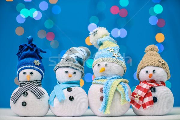 Sneeuwpop vrolijk kerstmis marionet licht achtergrond Stockfoto © fotoduki