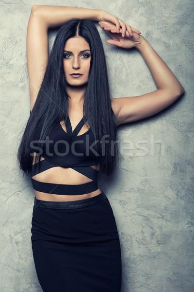 привлекательный позируют черный одежды Сток-фото © fotoduki