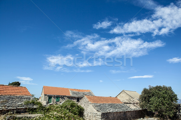 old stone rustic house and blue sky Stock photo © fotoduki