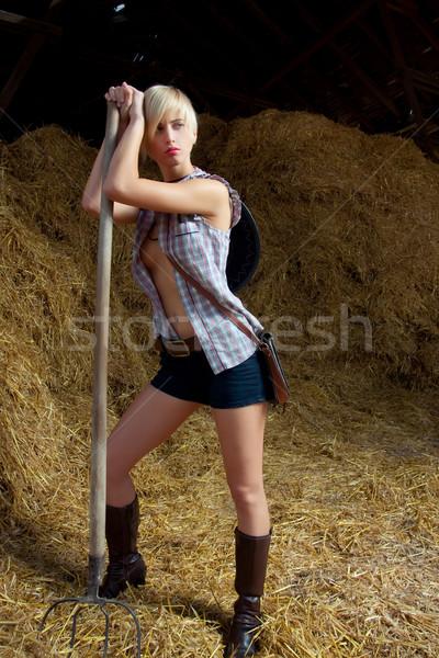 Atraente vaqueiro menina aldeia mulher cabelo Foto stock © fotoduki