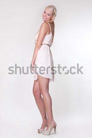 Sexy cute blond meisje winter mode Stockfoto © fotoduki