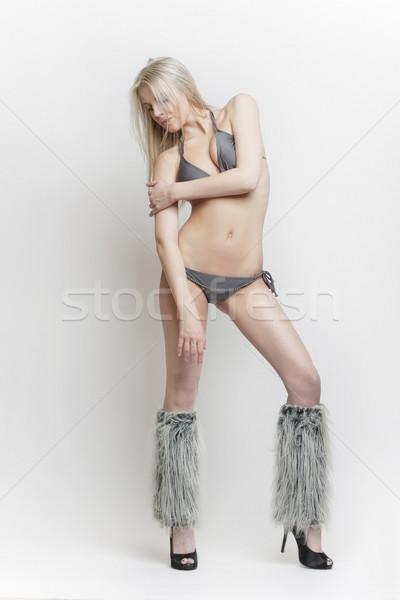 Blond meisje zwempak mooie aantrekkelijk slank Stockfoto © fotoduki