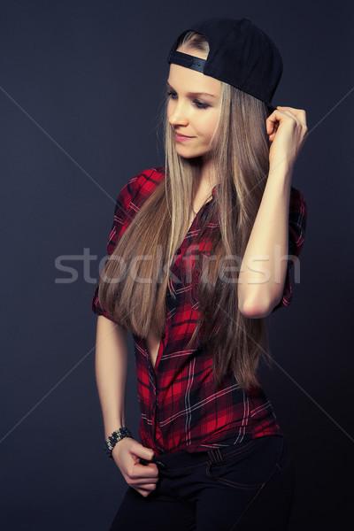 красоту улыбка блондинка тонкий девушки красный Сток-фото © fotoduki