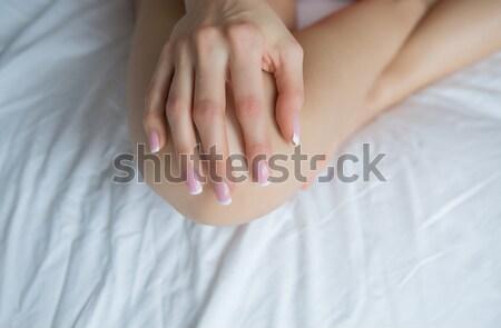 красивой женщины рук маникюр чистой белый Сток-фото © fotoduki