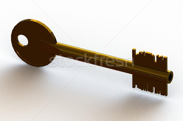 Altın anahtar modern güvenlik ev Metal Stok fotoğraf © fotoduki