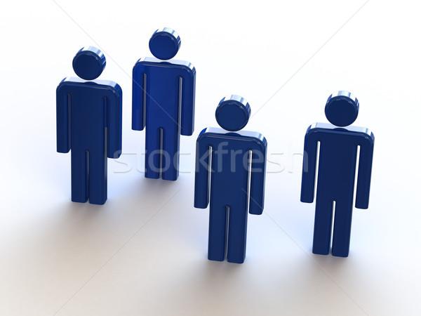 3D Blauw mensen witte business vergadering Stockfoto © fotoduki