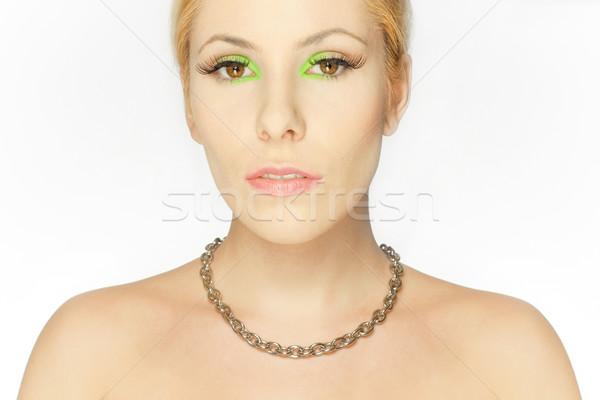 Mooie blond meisje ogen groene make Stockfoto © fotoduki