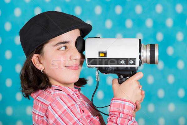 Genç kız kamera mutlu eski film Stok fotoğraf © fotoedu