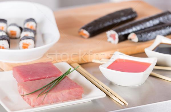 Finom szusi előkészített kóstolás étterem kezek Stock fotó © fotoedu