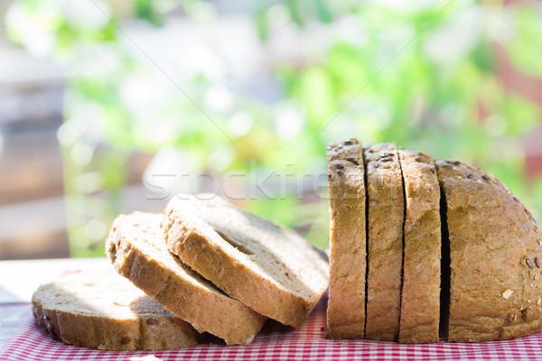 Stockfoto: Brood · brood · gesneden · granen · tabel · hout