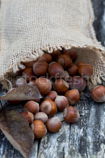 Mogyoró táska frissen asztal étel fa Stock fotó © fotoedu