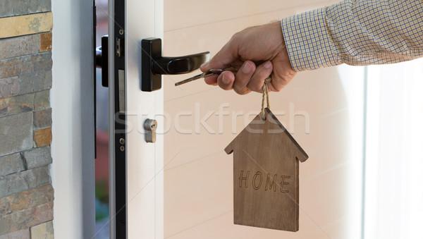 Kulcs zár szett kulcstartó szó otthon Stock fotó © fotoedu