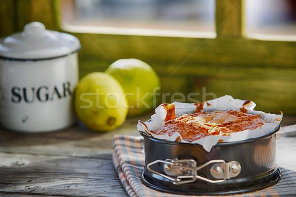 Házi készítésű joghurt piskóta torta kevés citrom Stock fotó © fotoedu