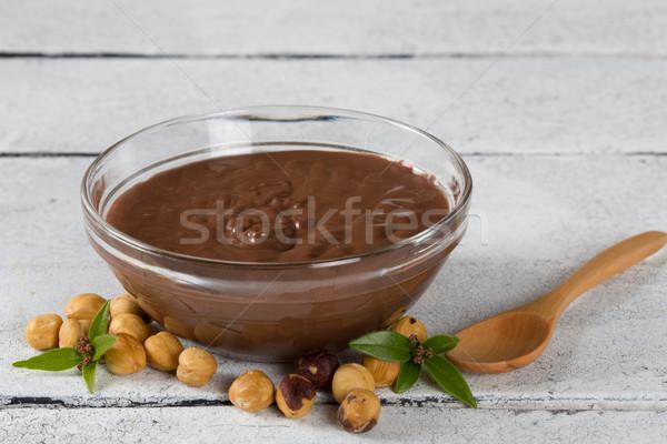 Hazelnut cream with hazelnut nuts Stock photo © fotoedu
