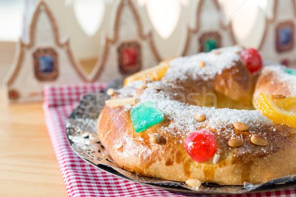 торт таблице праздновать бумаги продовольствие фрукты Сток-фото © fotoedu