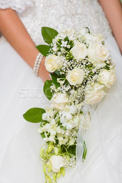 Virágcsokor menyasszony különleges nap kéz szeretet Stock fotó © fotoedu