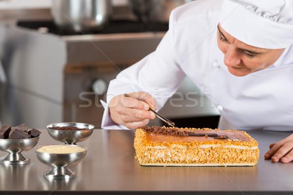 Sütemény szakács torta tojássárgája krém állás Stock fotó © fotoedu
