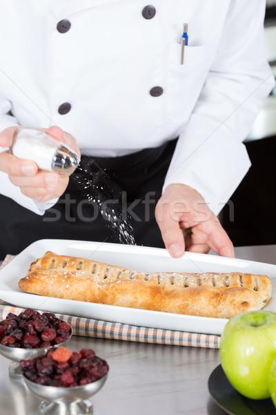 Chef cake glazuursuiker appeltaart hand Stockfoto © fotoedu