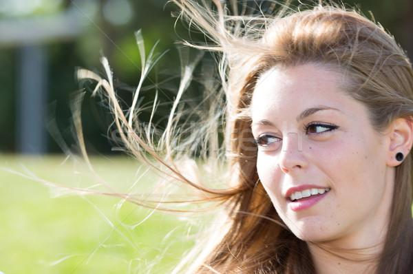 Primer plano mujer parque feliz ojos salud Foto stock © fotoedu