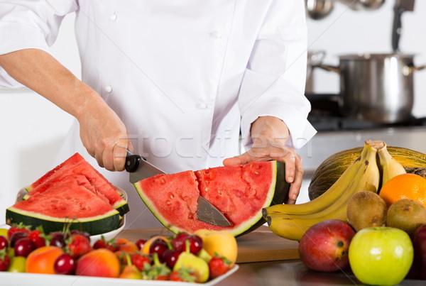Chef frutas delicioso dulce sandía Foto stock © fotoedu