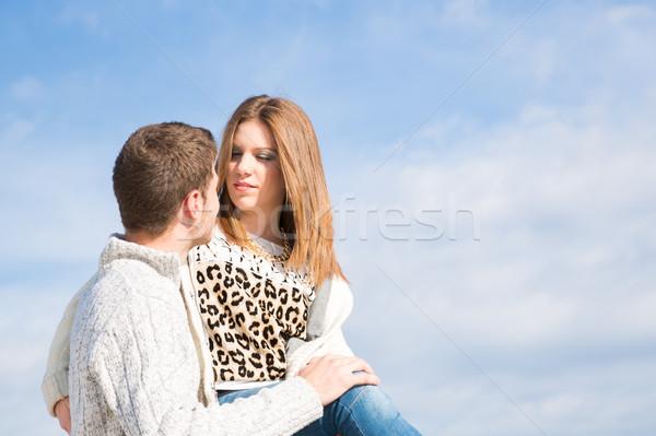 Amantes de volta grama praia amor homem Foto stock © fotoedu
