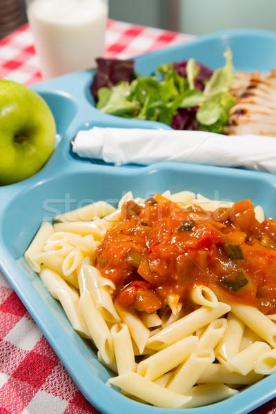 Tálca étel iskola ételek gyümölcs zöld Stock fotó © fotoedu