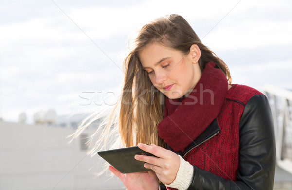 Young Girl with a tablet Stock photo © fotoedu